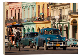 Quadro de madeira  classic us cars in havanna, cuba - Peter Schickert