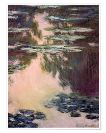 Póster Premium  Waterlilies with Weeping Willows - Claude Monet