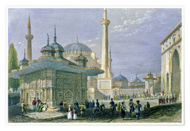 Póster Premium  Fountain and Square of St. Sophia, Istanbul - William Henry Bartlett