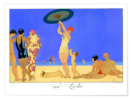 Póster Premium  At the Lido, engraved by Henri Reidel, 1920 - Georges Barbier