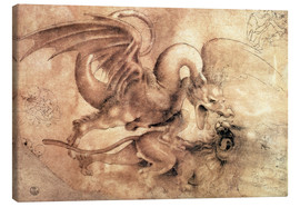 Quadro em tela  Fight between a Dragon and a Lion - Leonardo da Vinci