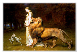 Póster Premium  Una and the Lion, from Spenser's Faerie Queene - Briton Riviere