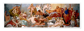 Póster Premium The Gods on Olympus, ceiling painting