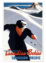 Póster Premium  Skiing in the Canadian Rockies - Travel Collection