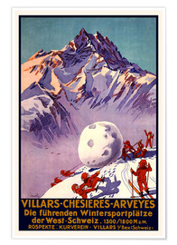 Póster Premium  Winter Sports in Villars, Chesieres and Arveyes - Travel Collection