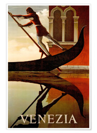 Póster Premium  Italy - Venice gondolier - Travel Collection