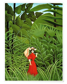 Póster Premium Woman in red in forest