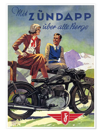 Póster Premium  With Zündapp over the hills (German) - Advertising Collection