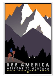Póster Premium  See America - Welcome to Montana - Travel Collection