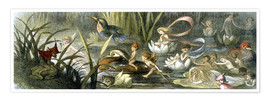 Póster Premium  Water-Lilies and Water Fairies - Richard Doyle