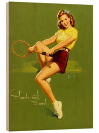 Quadro de madeira  Pin Up - Shorts and Sweet - Al Buell