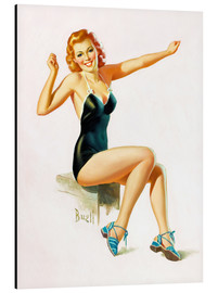 Quadro em alumínio  Pin Up - Seated Redhead in Swimsuit - Al Buell