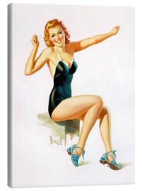 Quadro em tela  Pin Up - Seated Redhead in Swimsuit - Al Buell