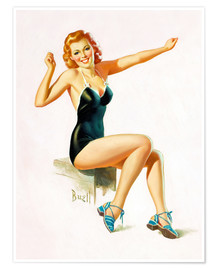 Póster Premium  Pin Up - Seated Redhead in Swimsuit - Al Buell