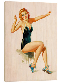 Quadro de madeira  Pin Up - Seated Redhead in Swimsuit - Al Buell