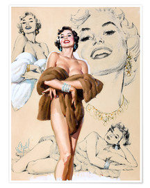 Póster Premium  Glamour Pin Up study - Al Buell