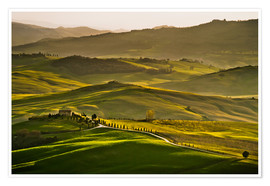 Póster Premium Evening light in Tuscany