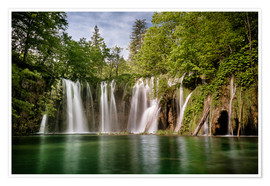 Póster Premium  Paradise Waterfall in Plitvice - Andreas Wonisch