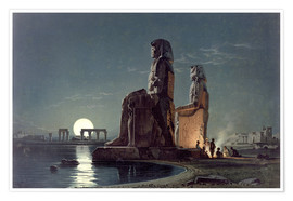 Póster Premium  The Colossi of Memnon, Thebes - Carl Friedrich Heinrich Werner