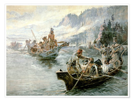 Póster Premium  Lewis & Clark no baixo rio Columbia, 1905 - Charles Marion Russell
