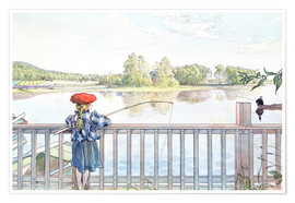 Póster Premium  Lisbeth angling - Carl Larsson