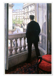 Póster Premium  Man at the Window - Gustave Caillebotte