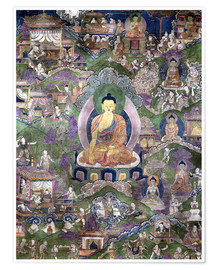 Póster Premium  Thangka of the Buddha - Tibetan School