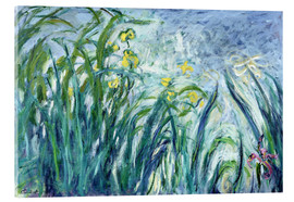 Quadro em acrílico  Yellow and Purple Irises - Claude Monet