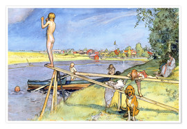 Póster Premium  A Pleasant Bathing Place - Carl Larsson