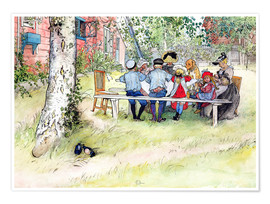 Póster Premium  Breakfast under the big birch - Carl Larsson