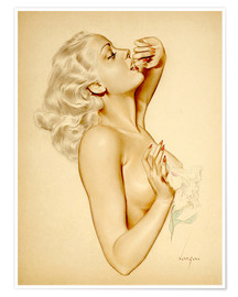 Póster Premium  Girl with a Flower - Alberto Vargas