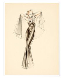 Póster Premium  Evening Dress study - Alberto Vargas