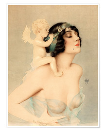 Póster Premium  Girl with angel - Alberto Vargas