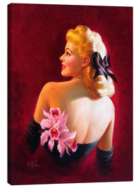 Quadro em tela  Glamour Pin Up with Pink Orchids - Art Frahm