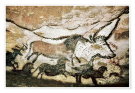 Póster Premium Cave paintings in the cave of Lascaux
