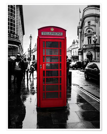 Póster Premium  Red telephone booth in London - Edith Albuschat