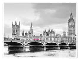 Póster Premium  Westminster bridge with look at Big Ben and House of parliament - Edith Albuschat