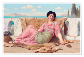 Póster Premium  A Quiet Pet - John William Godward