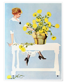 Póster Premium  Housekeeper with bouquet - Clarence Coles Phillips