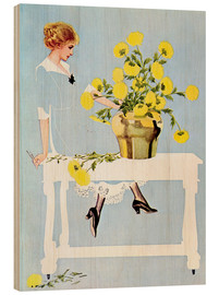 Quadro de madeira  Housekeeper with bouquet - Clarence Coles Phillips