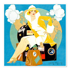 Póster Premium  traveling Lady - Life magazine 1927 - Clarence Coles Phillips