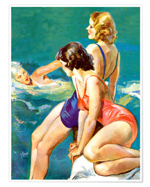 Póster Premium  3 women at the sea - John La Gatta