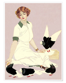 Póster Premium  Woman with Pigeons - Clarence Coles Phillips