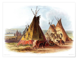 Póster Premium  Camp of Native Americans - Karl Bodmer