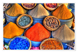 Póster Premium  Colorful oriental spices on the bazaar in Marrakech - HADYPHOTO