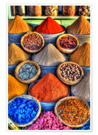 Póster Premium  Colorful spices on the bazaar in Marrakech - HADYPHOTO