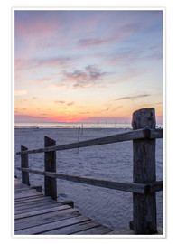 Póster Premium  Jetty into the sea from St Peter Ording - Dennis Stracke