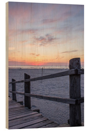 Quadro de madeira  Jetty into the sea from St Peter Ording - Dennis Stracke