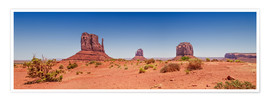 Póster Premium Monument Valley USA Panorama I