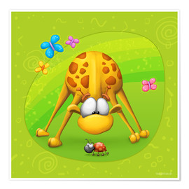 Póster Premium Giraffe with beetle